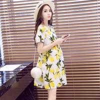 New summer maternity clothing Fashion loose large size short sleeve printing breastfeeding maternity dress Nursing clothes