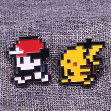 Ash Ketchum & Pikachu dello smalto pin pixel 8 bit distintivo classico Pokemon giochi spilla Lets' go game boy regalo(China)