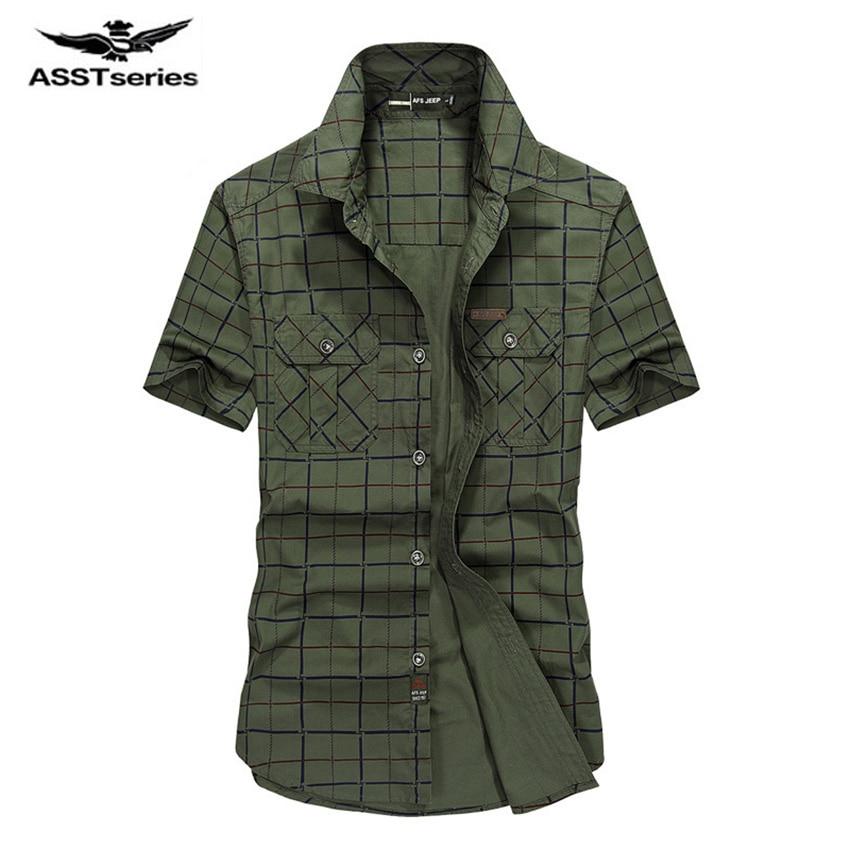 2017 New Mens Short Sleeve Shirts Cotton Casual Plaid Shirts Slim Fit AFS JEEP Brand Clothing Short Sleeve Men Shirt D59