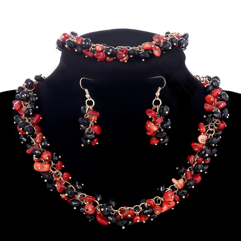 Promotion Stone Jewelry Sets Vintage Full Black Red Nature Coral Beads Earrings Bracelets Choker Necklaces Women