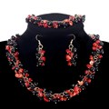 Hot Sale Promotion Stone Jewelry Sets Vintage Full Black Red 100% Nature Coral Beads Earrings Bracelets Choker Necklaces Women