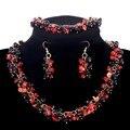Venda quente promoção pedra conjuntos de jóias Vintage preto 100% natural Coral pulseiras gargantilha colares mulheres