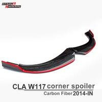 W117 Front Bumper Lip Spoiler Carbon Fiber Corner Spoiler Cup Splitter Fits Mercedes CLA 200 CLA180 CLA250 CLA45 2014 2015