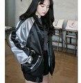 2016 Otoño Moda Mujer Chaquetas Mujer Harajuku Costura Básica Amantes Cazadora Bomber Jacket Coat Cardigan JA8021