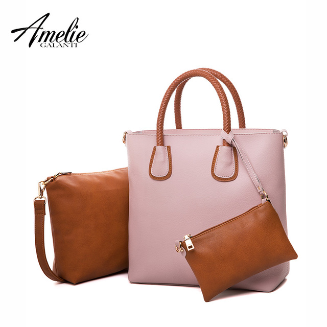 AMELIE GALANTI  Women Bags Designer Composite Casual handbag Soft Shopping Bag PU Leather 3 assemble Newest Luxury