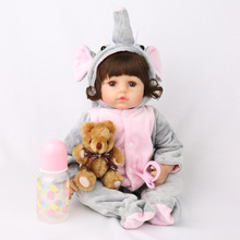 Bebe 45cm muñeca bebé niña muñecas de silicona suave Boneca muñecas Brinquedos el Día de los niños regalos de juguetes l o l npk muñeca