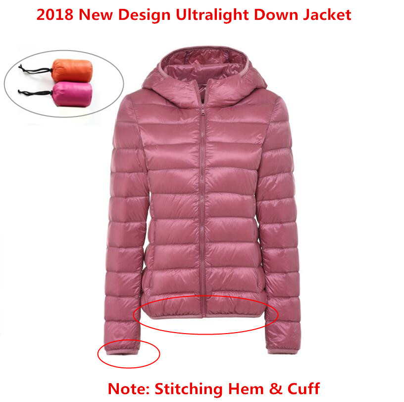 2018 Brand New Designer Women   Down   Parkas 90% White Duck   Down   Ultralight Jacket Female Winter Outwear Hooded Thin   Coat