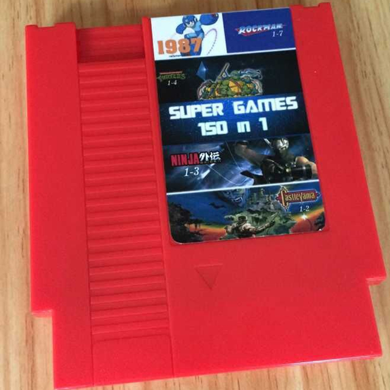 High quality 72 Pins 8 bit Game Cartridge 150 in 1 with Rockman 1 2 3 4 5 6 NINJA TURTLES Contra Kirby's Adventure