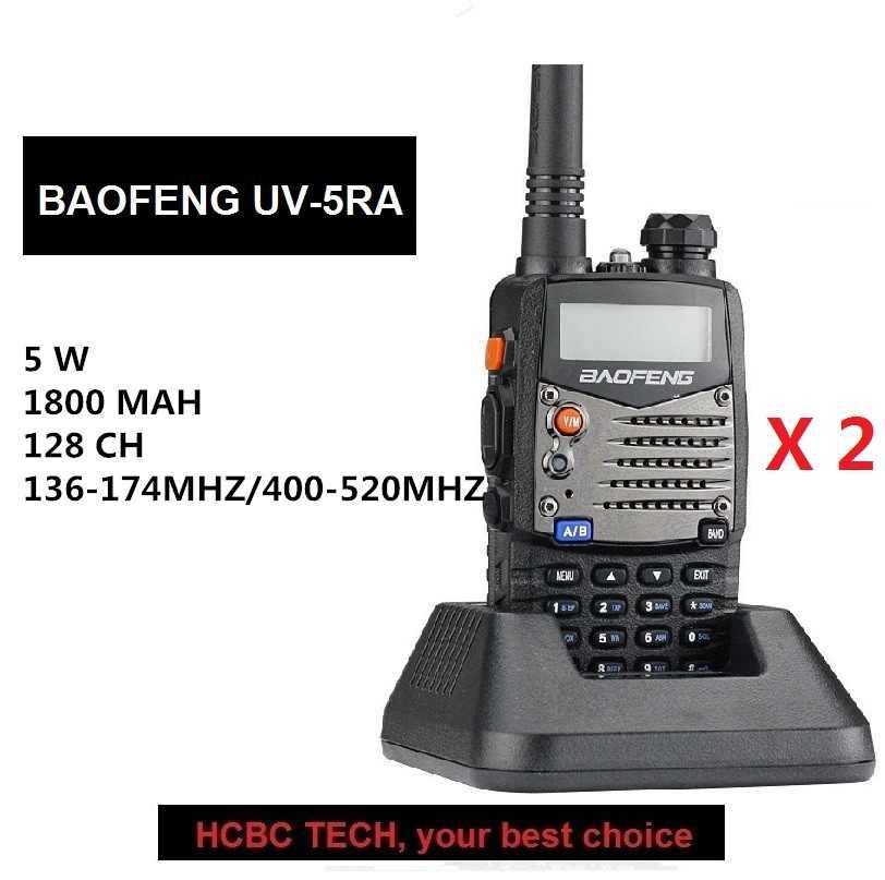 2 STUKS UHF VHF BAOFENG UV-5RA Draagbare Twee Manier Radio5W 128CH Bijgewerkt UV-5R Ham Transceiver CB Radio Communicator voor Motorola