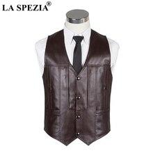 LA SPEZIA Brown Waistcoat Men Genuine Leather Slim Fit Sleeveless Jacket Male Natural Luxury Casual Autumn Winter Vest
