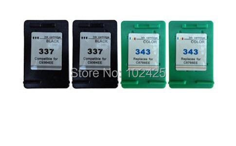 4pk für hp 337 und für hp 343 tintenpatronen für hp photosmart...