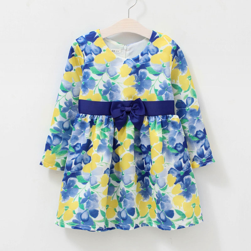 2016 New spring&autumn children clothes fashion lolita style kids dress for girls bow print girls long sleeve dresses