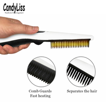 New mini ceramic hair straightener LED brush electric comb size portable USB charging wireless