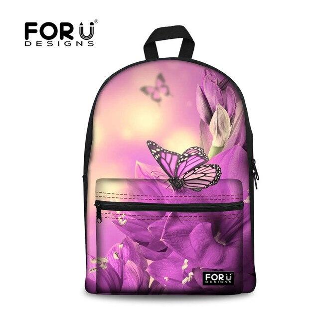 bf02db814eb FORUDESIGNS Butterfly Printing Backpacks for Teenage Girls,2017 New Kids  Canvas Backpack,Women Bagpack Children Cute Pack Bag