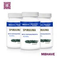 Big Deal Free Shipping MBHAVE 3 Bottles Natural Pollution Organic Spirulina 250mg Total 900PCS