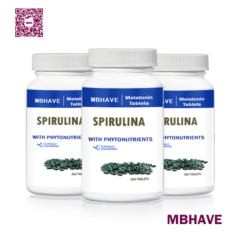 big deal Free shipping MBHAVE 3 Bottles Natural Pollution Organic Spirulina 250mg Total 900PCS