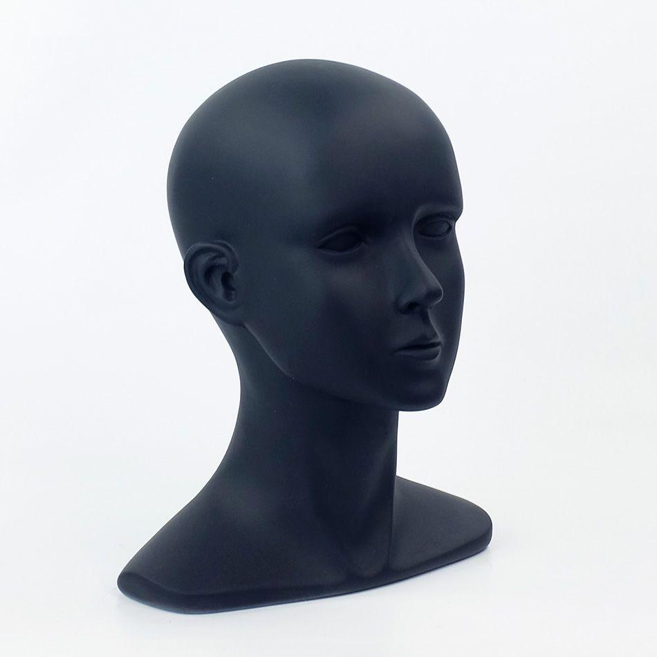 56 CM Fiberglass Matte Black Female Mannequin Dummy Head For Hat Sunglass VR Helmet Display