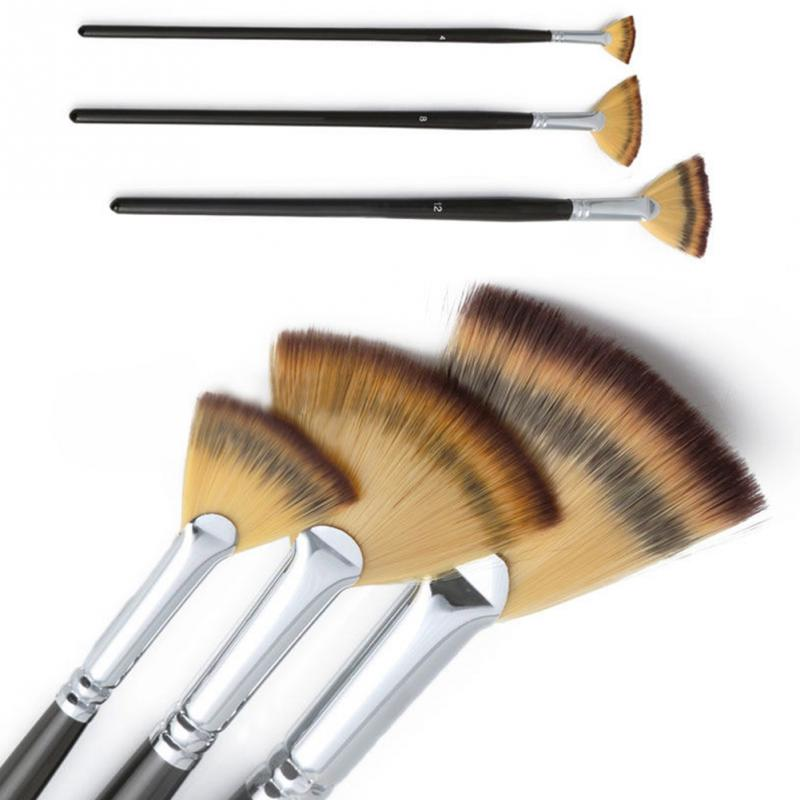 3pcs/set Fan Brush Pen for Oil Acrylic Water Painting Artist Wooden Handle Nylon Hair Perfect for the beginning artist r l stine the beginning