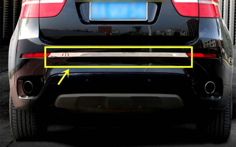 For BMW X6 E71 2009 2014 Stainless Steel Chrome Rear Bumper Skid Protector Guard Cover 1pcs