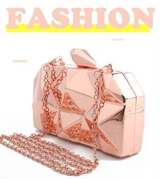 Fashion Handbags Women Metal Clutches Top Quality Hexagon Mini Party Black Evening Purse Silver Bags Gold Box Clutch 3 colors