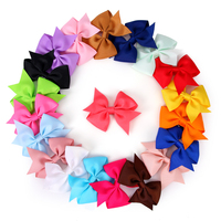 20pcs 3 5 High Quality Wholesale Boutique Solid Color Duckbilled Baby Girls Clip Grosgrain Ribbon Bowknot