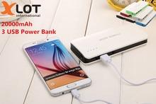 Xlot 3 USB Power bank For SAMSUNG powerbank 20000mah backup Power Bank 18650 external battery For xiaomi iPhone Backup power