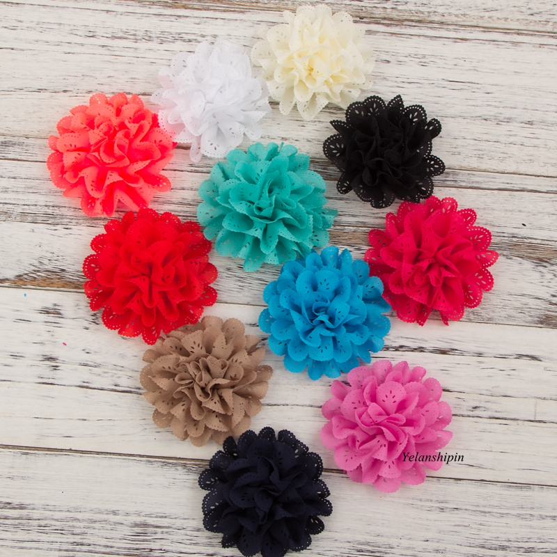 50pcs/lot 10cm 20Colors Hair Clip Hollow Out Blossom Eyelet Hair Flowers Soft Chic Artificial Fabric Flowers For Girls Headbands