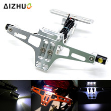 Motorcycle License Plate Holder Bracket Folding Mount Kit With Led Signal Light For Yamaha YZF MT 01 Mt07 Mt09 fz-09 R6S Yzf R1 цена