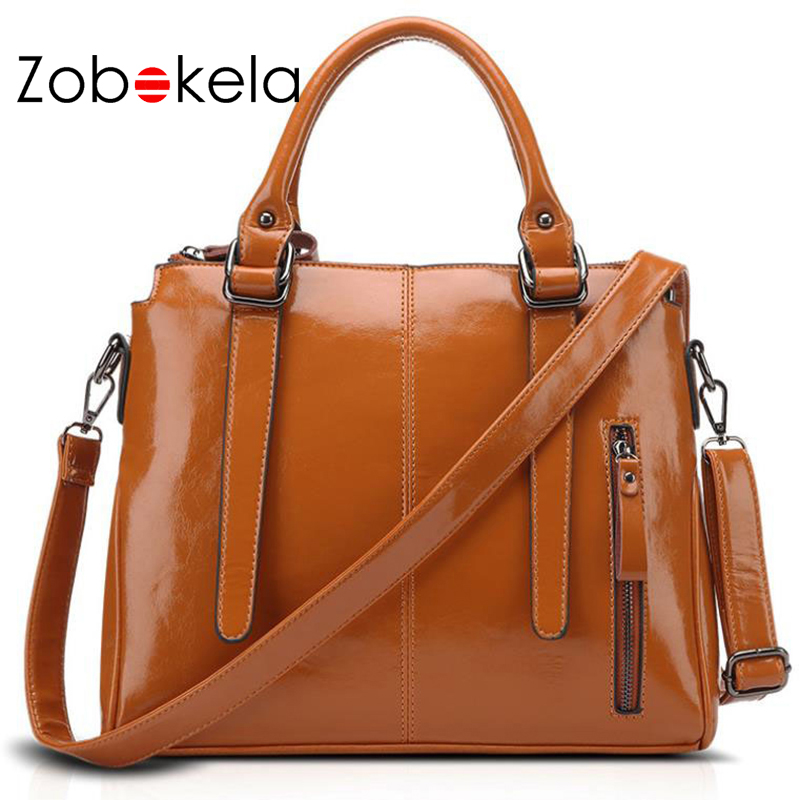 ZOBOKELA women leather handbags Oil wax luxury handbags women messenger bags designer women Shoulder bag female Bolsos Tote bag sisjuly 2017 new leather bag women handbags casual tote luxury brand designer oil wax lady shoulder bags female sac a main
