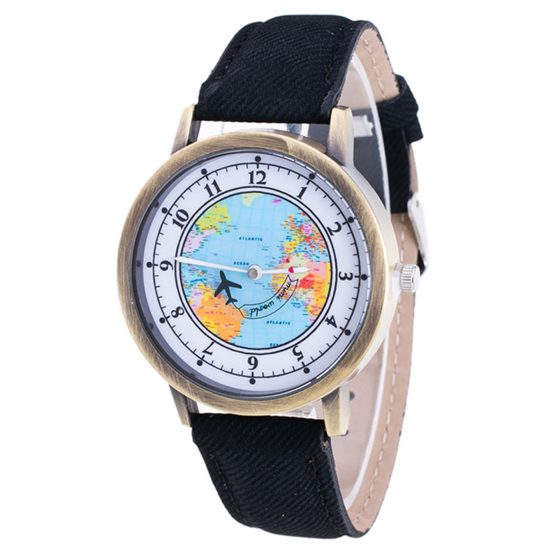 Fashion Casual Watches Women Casual Wristwatch Personality World Map Airplane Pattern Cowboy Band Quartz Watch Relogio Feminino rigardu fashion female wrist watch lovers gift leather band alloy case wristwatch women lady quartz watch relogio feminino 25