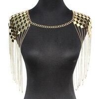 Панк металлические ожерелья для женщин воротник плечо длинная цепь Подвески Ожерелья сексуальные аксессуары для украшения тела UKMOC