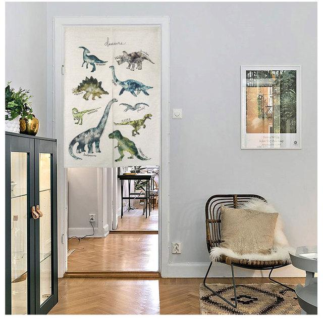Cotton And Linen Dinosaur Half Door Window Curtain Home Decoration Bedroom  Living Room Kitchen Household Coffee