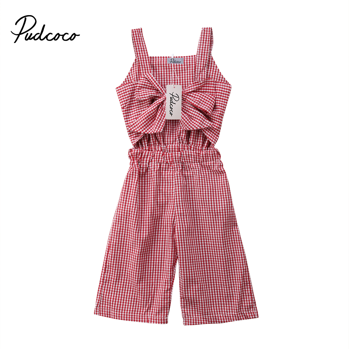 Pudcoco New Kids Baby Girls Plaid Bowknot Chest Strap Elastic Waist Overalls Pants Romper Jumpsuit Sunsuit Clothes Outfits