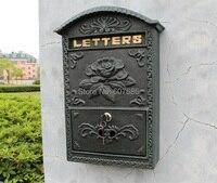 Antique Wall Mount Cast Iron Flower Mailbox Embossed Trim Decor Dark Green Look Free Shipping Rural