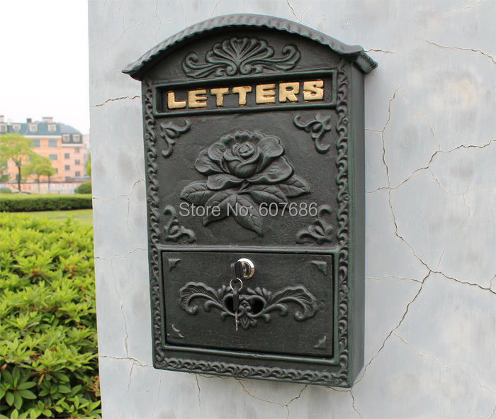 Antique Wall Mount Cast Aluminum Flower Mailbox Embossed Trim Decor Dark Green Metal Mail Letters Post Box Yard Patio Free Ship