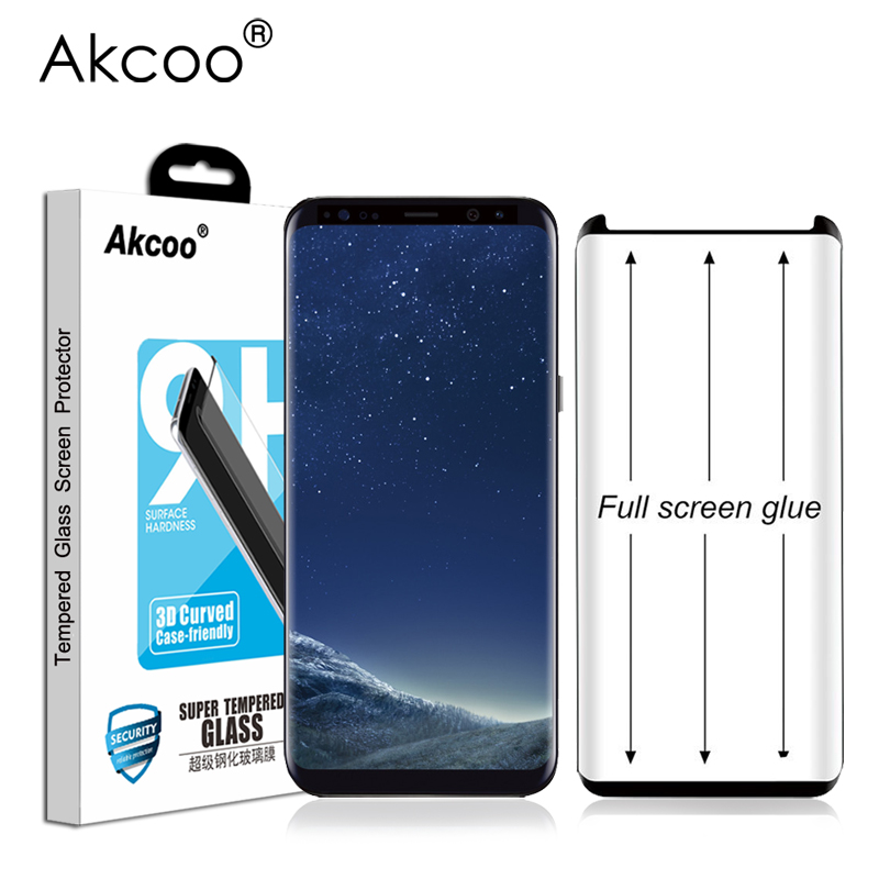Akcoo S8 Screen Protector full glue for Samsung Galaxy S8 9 Plus note 8 9 full a