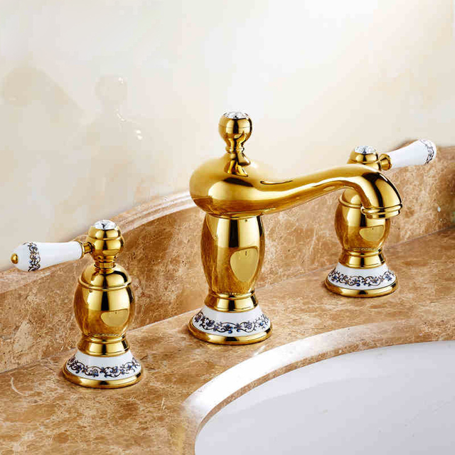 2016 NEW Ceramic Golden Bathroom Sink Basin Faucet Widespread Blue and White Porcelain Handles Washbasin Mixer Taps