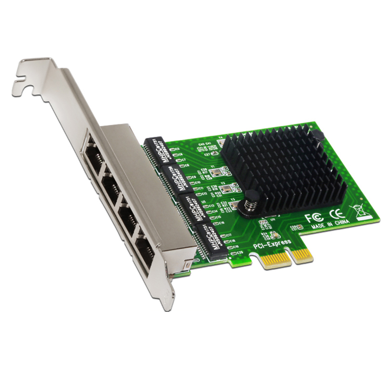 Network Card 4 Port Gigabit Ethernet 10 100 1000M PCI-E PCI Express to 4x Gigabit Ethernet Network Card LAN Adapter for Desktops