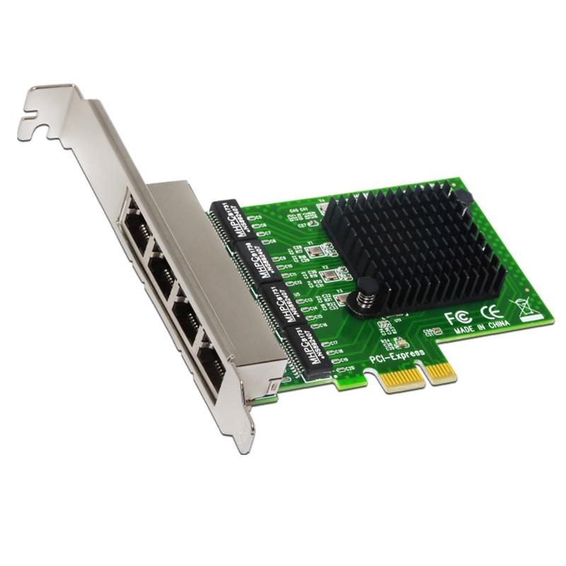 Network Card 4 Port Gigabit Ethernet 10/100/1000M PCI-E PCI Express To 4x Gigabit Ethernet Network Card LAN Adapter For Desktops