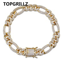 TOPGRILLZ Gold Silver Color Iced Out Cubic Zircon Cuban Chain Link Bracelet Men Hip Hop Charm Trend Jewelry Gifts