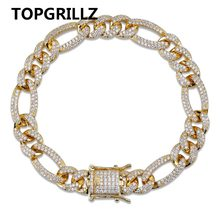 TOPGRILLZ Gold Silver Color Iced Out Cubic Zircon Cuban Chain Link Bracelet Men Hip Hop Charm Trend Jewelry Gifts(China)