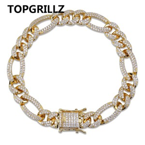 Image 1 - TOPGRILLZ Gold Silver Color Iced Out Cubic Zircon Cuban Chain Link Bracelet Men Hip Hop Charm Trend Jewelry Gifts