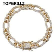 TOPGRILLZ oro argento colore ghiacciato zircone cubico bracciale a maglie cubane bracciale uomo Hip Hop fascino tendenza gioielli regali
