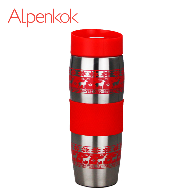Alpenkok AK-04022A Hot cup 400ml Vacuum Flask Thermose Travel Sports Climb Thermal Pot Insulated Vacuum Bottle Stainless Steel outdoor sports water bottle cup with strap orange 500ml