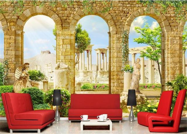 3d Custom photo mural 3d wallpaper Greek ancient Roman architecture ...