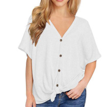 цена на Flying ROC Womens Loose Blouse Short Sleeve V Neck Button Down shirts Tie Front Knot Casual Tops