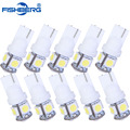 10pcs/Lot T10 W5W LED Bulbs 5050 5 SMD 194 168 Xenon White Wedge Interior Side Dashboard License Light Lamp Car Styling FISHBERG