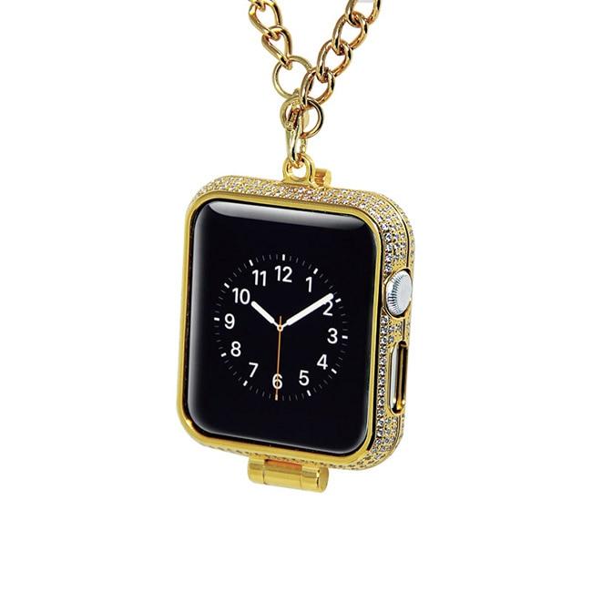 Di lusso di bling diamanti di strass incrostato 24kt carati placcato oro gioielli collana della vigilanza della copertura di caso per Apple osservare series1 & 2 e 3