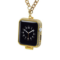 Luxury bling rhinestone diamonds encrusted 24kt 24ct gold plated jewelry watch necklace cover case for Apple watch series1&2&3