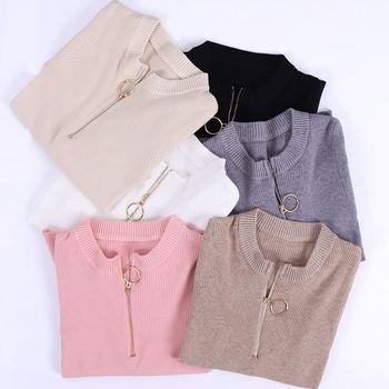 Zipper Sweater Women O-Neck White Jumper Full Sleeve Tops Solid Elastic Soft Female Pullovers Fashion Knitted Ladies Sweaters v neck zipper choker jumper